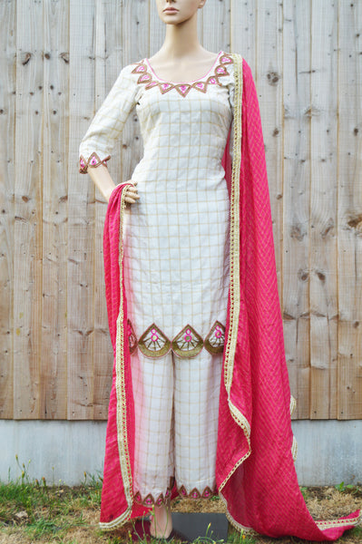 Cutwork embroidered palazzo suit