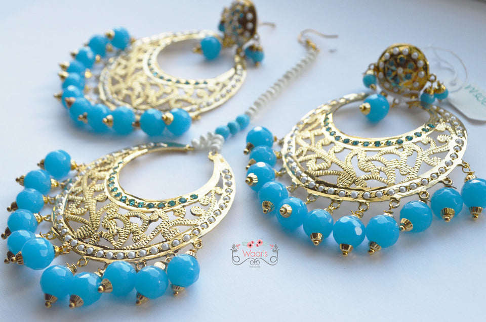 Skyblue earrings with tikka