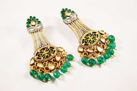 Green 'N' White Kundan Dangles