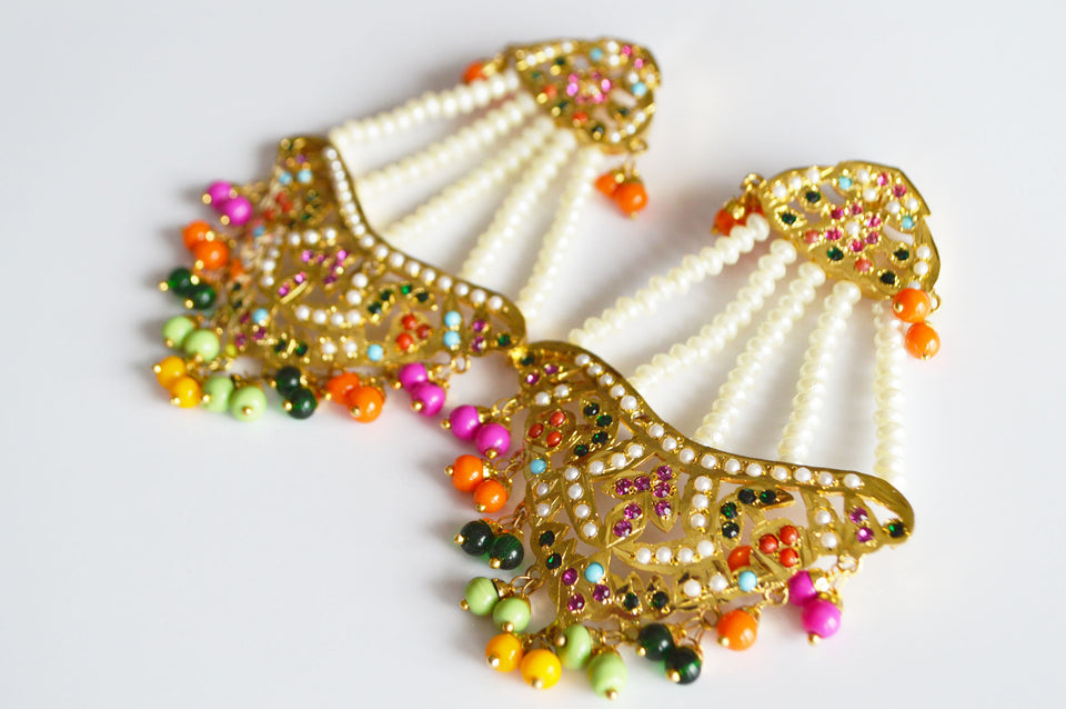 Earrings & Tikka with Multi-color Beads