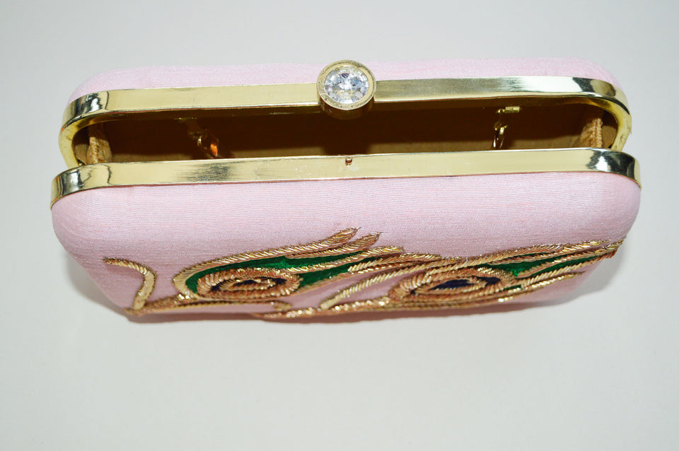 Peacock Embroidered Pink Clutch