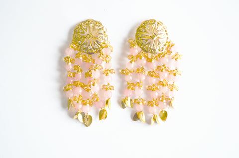 Hanging Earrings with Light Pink Coloured Pearls