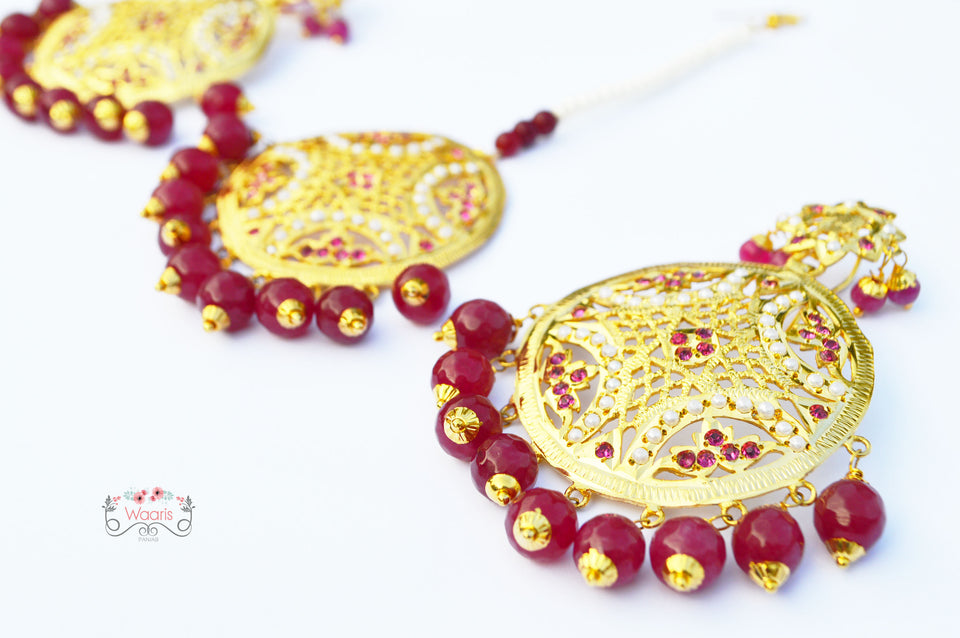 Earrings &  Tikka with Ruby Beads