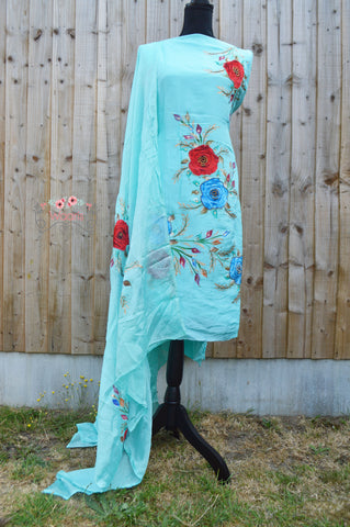 Sky Blue Suit with Velvet Roses and Paint Design