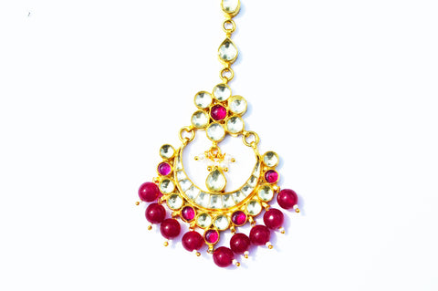 Kundan Tikka With Ruby Beads