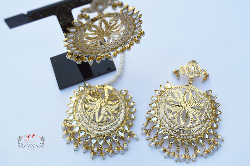 EARRINGS & TIKKA IN WHITE COLOR