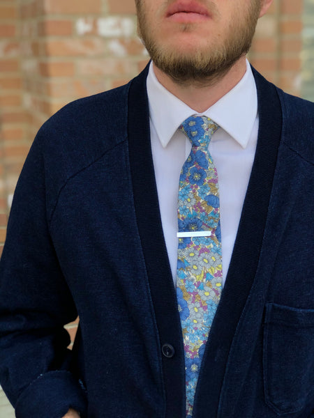 Baker Floral Tie in Light Blue
