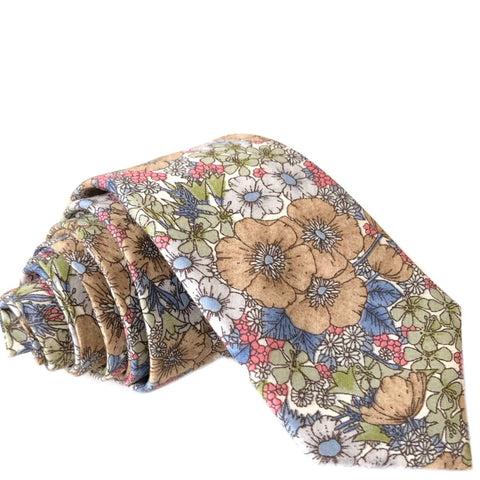 Baker Floral Tie in Brown