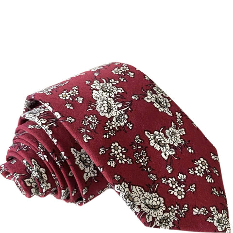 Paxton Floral Tie in Red