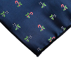 Kringle Candy Cane Pocket Square in Navy