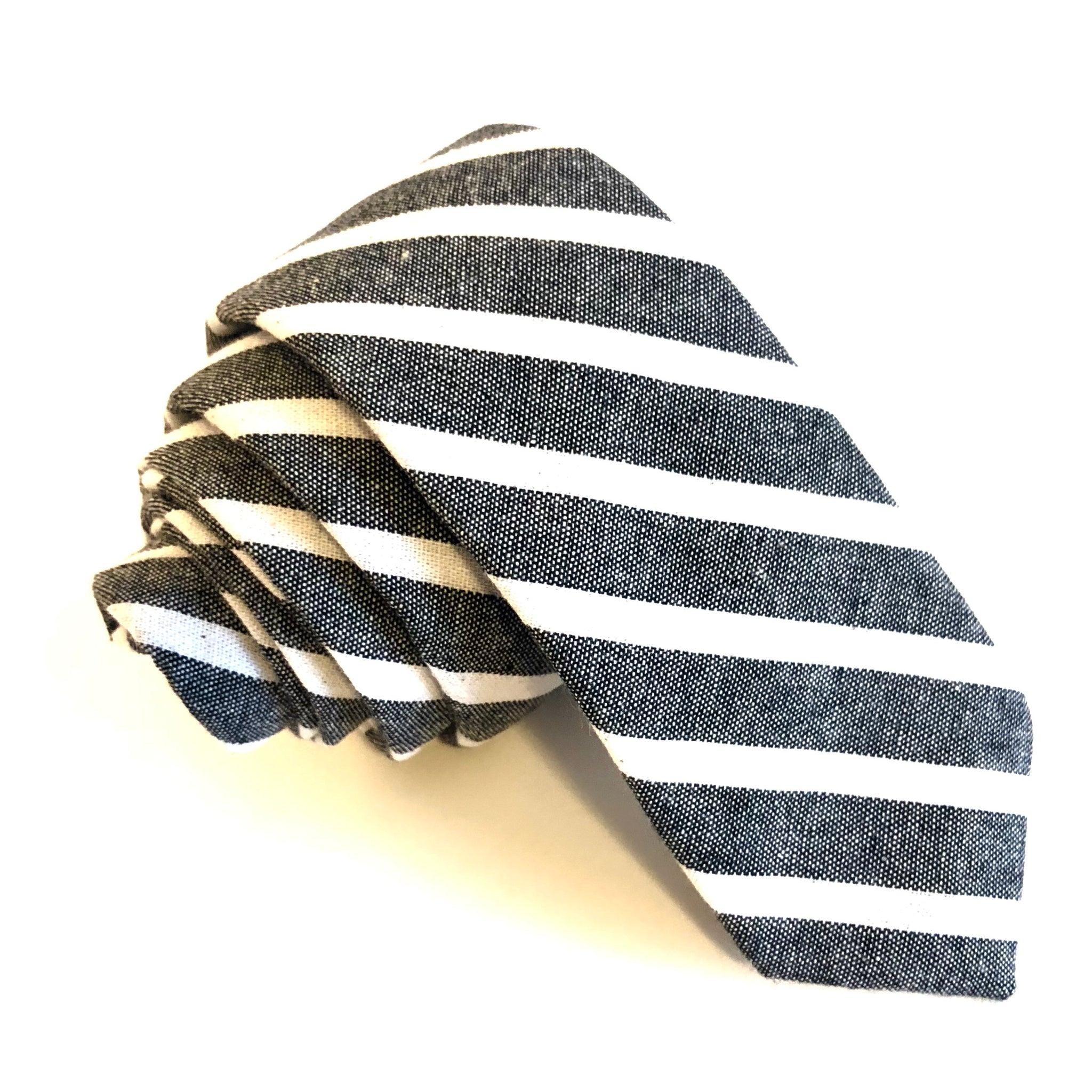 Ezra Stripe Tie in Grey