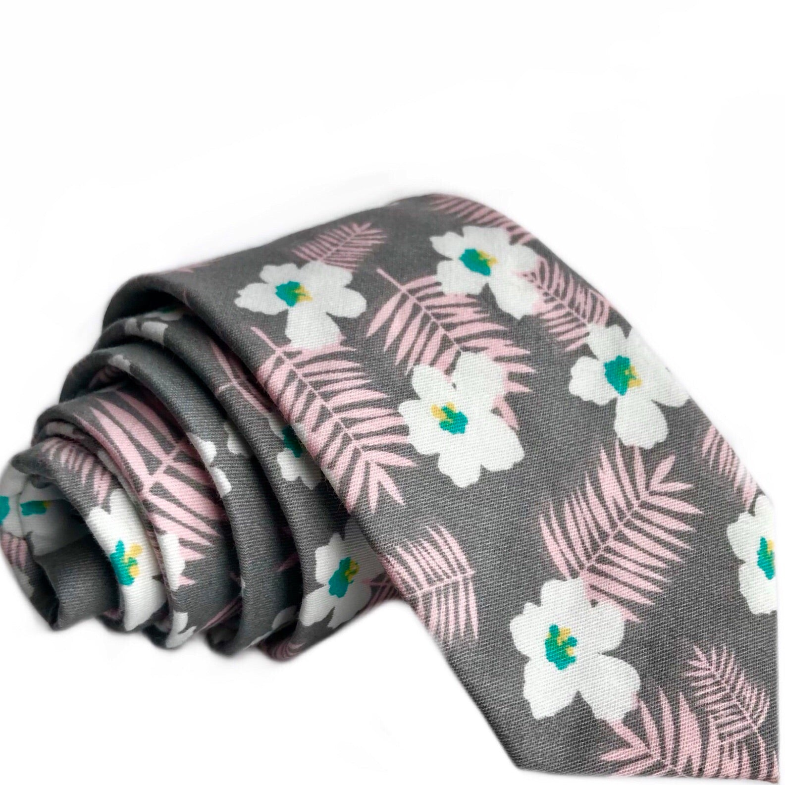 Koa Floral Tie in Grey