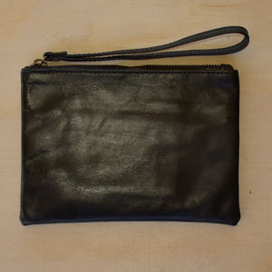 Python Leather Petite Clutch