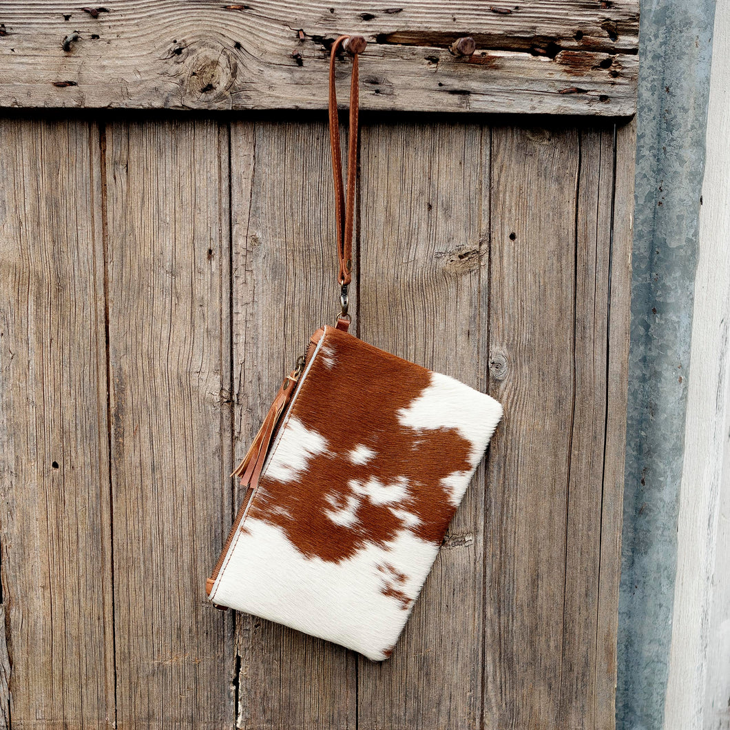 Cowhide/Leopard Print Leather Clutch