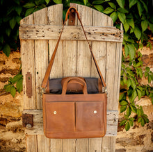Tan Buffalo Hide Leather Laptop Satchel