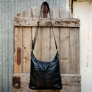 Two Pocket Soft Leather Bucket Bag