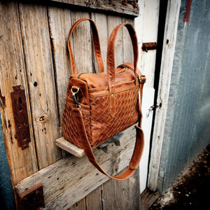 Leather Weave Bowler Bag