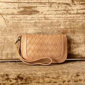 Zip-Around Leather Weave Wallet/Purse