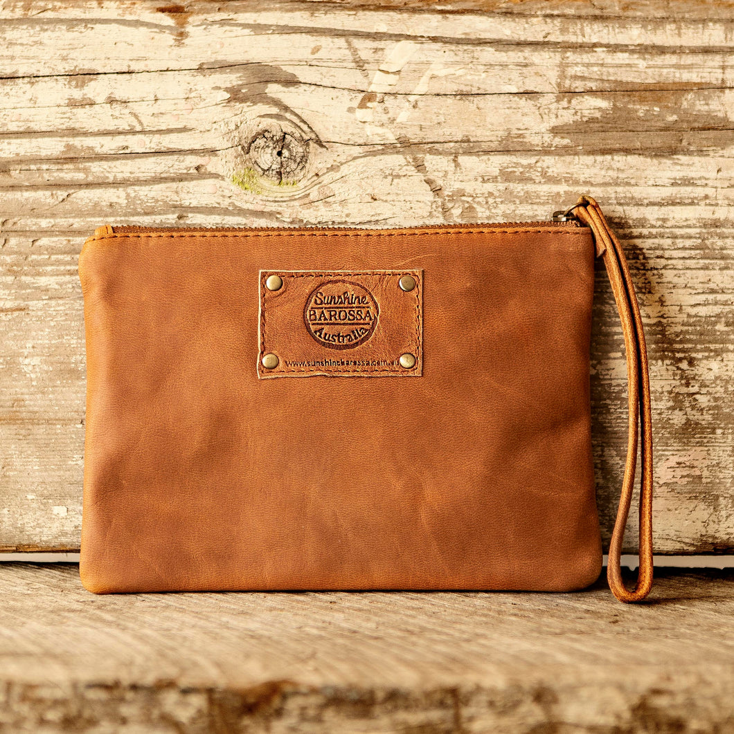 Leather Phone Clutch With Wrist Strap