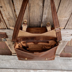 Large Buffalo Hide Leather Laptop Satchel