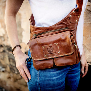 Leather Travel/Festival Waist or Across Body Bag