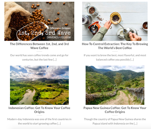 Driven Coffee blog example