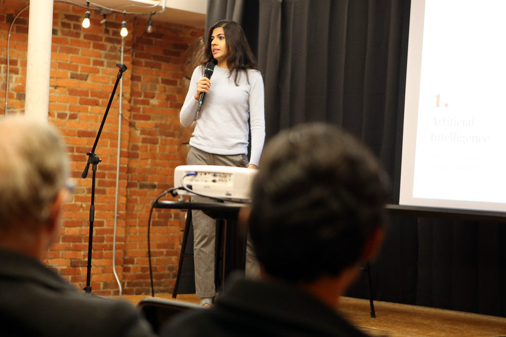 Soumya Shukla of Adeptmind AI was the second speaker at Shopify Meetup Columbus in November 2018