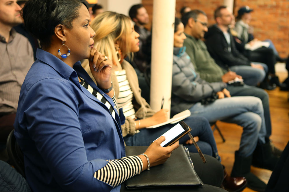 Our attendees engaged with the speakers at the Shopify Columbus Meetup in November