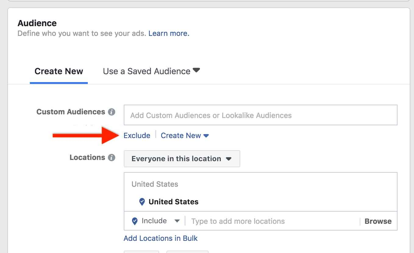 Exclude A Facebook Audience