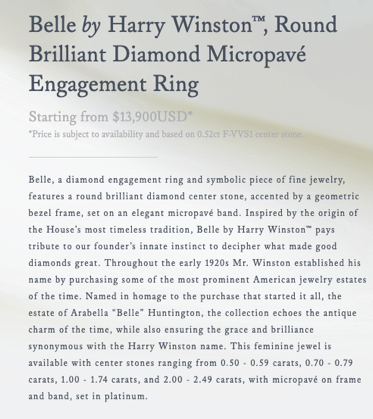 product description from Harry Winston
