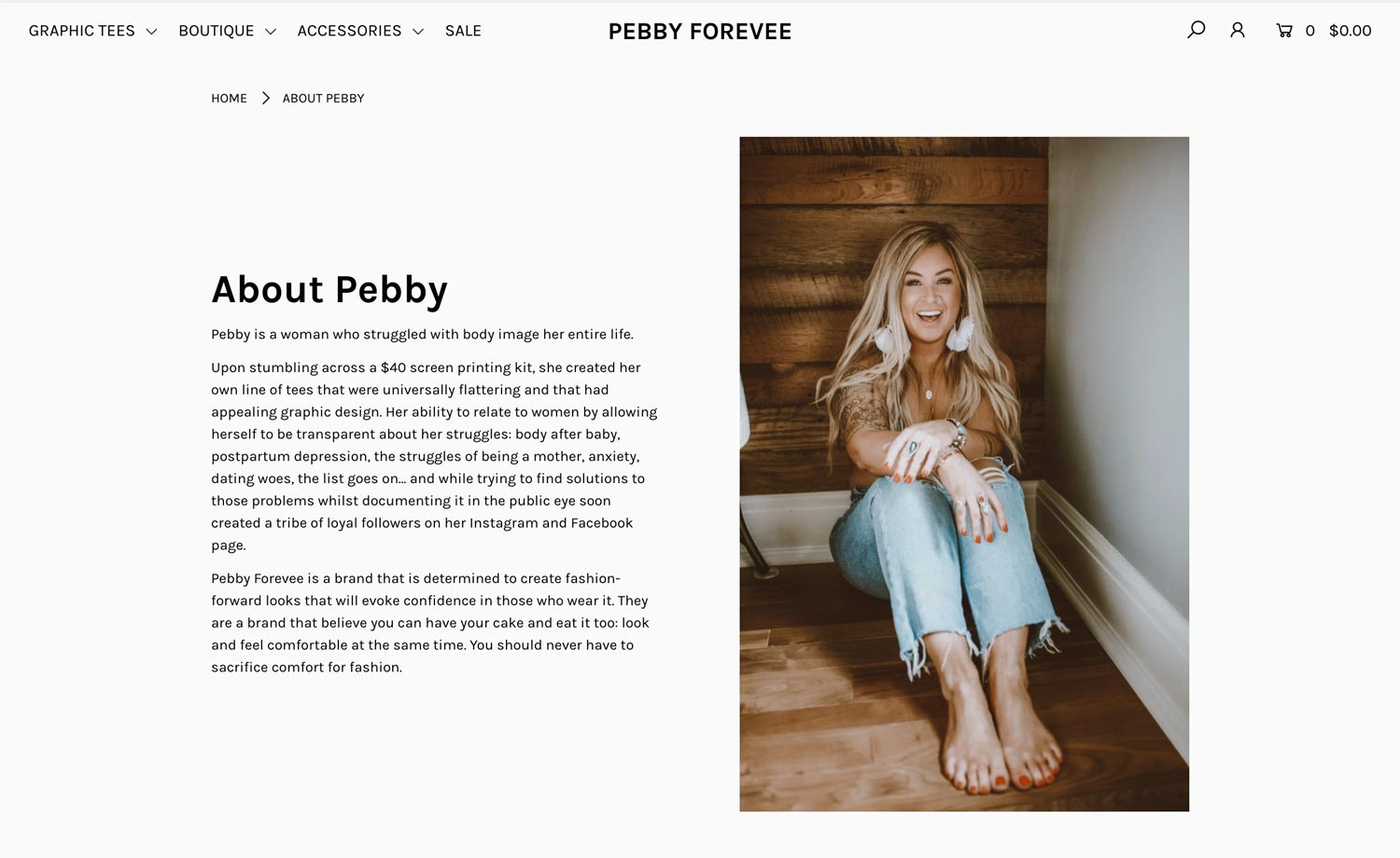 pebby shopify about page design