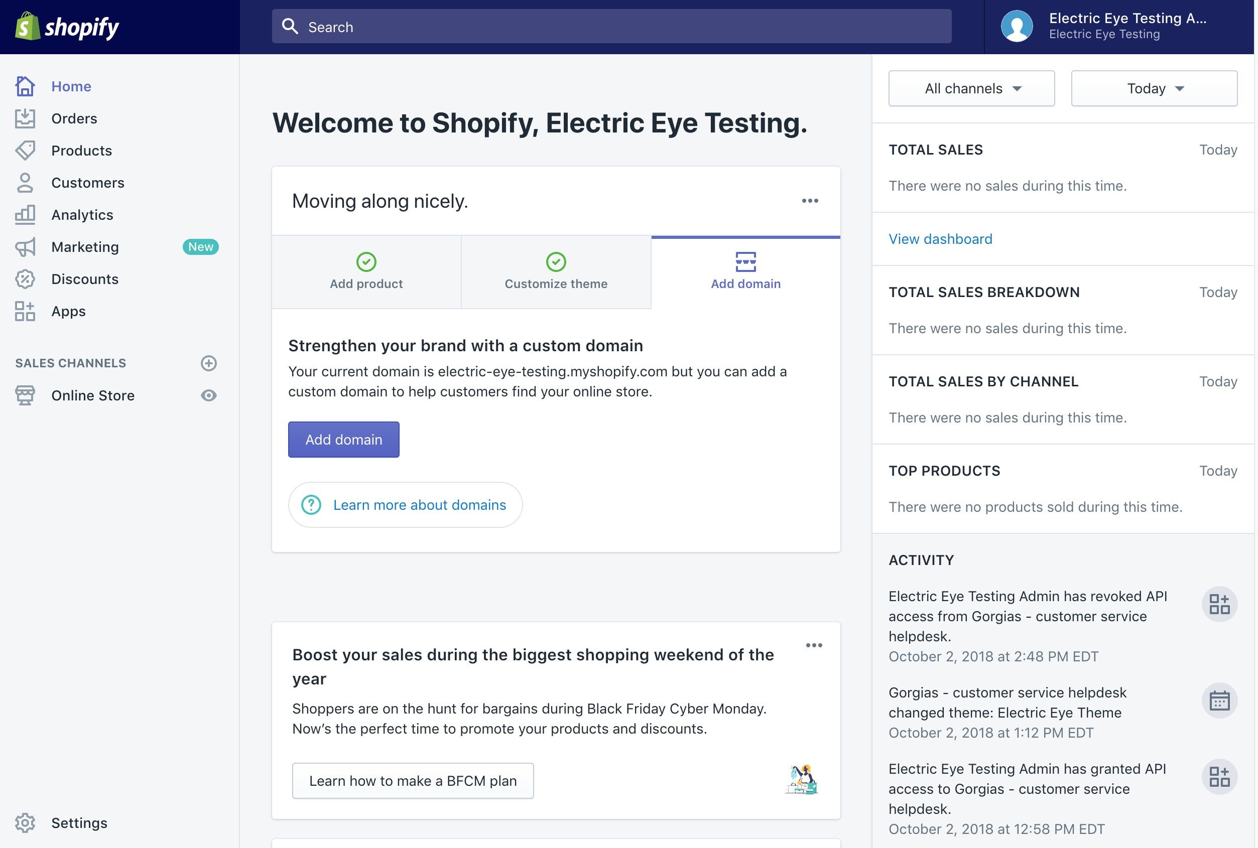 An example of a Shopify webstore dashboard