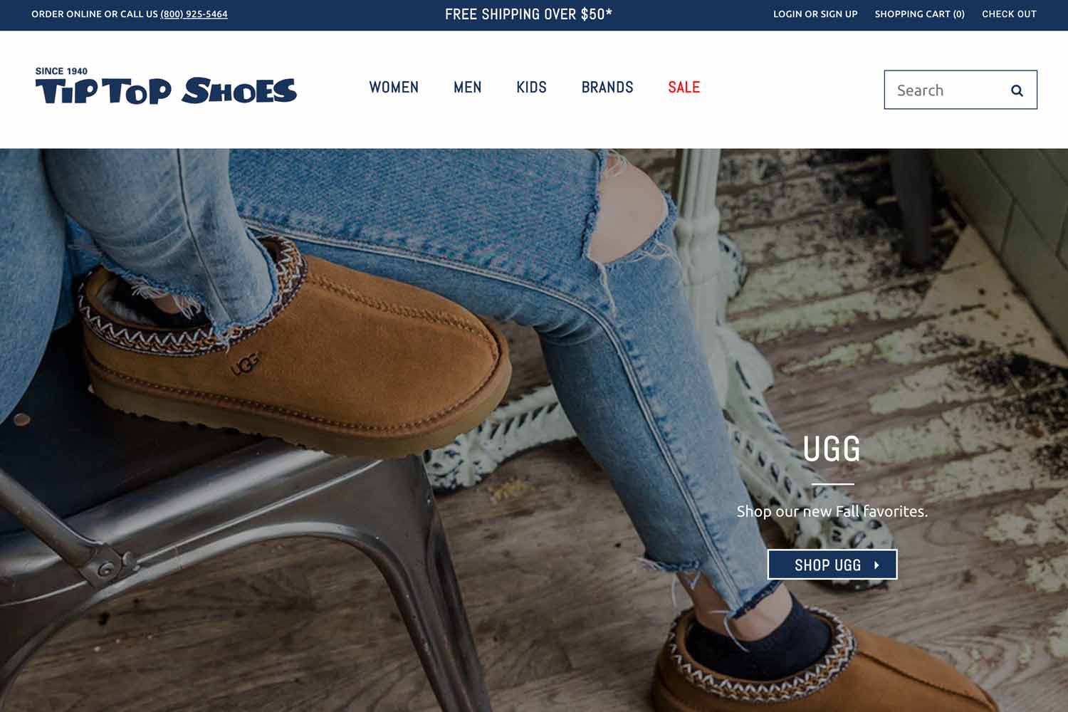 Tip Top Shoes homepage design