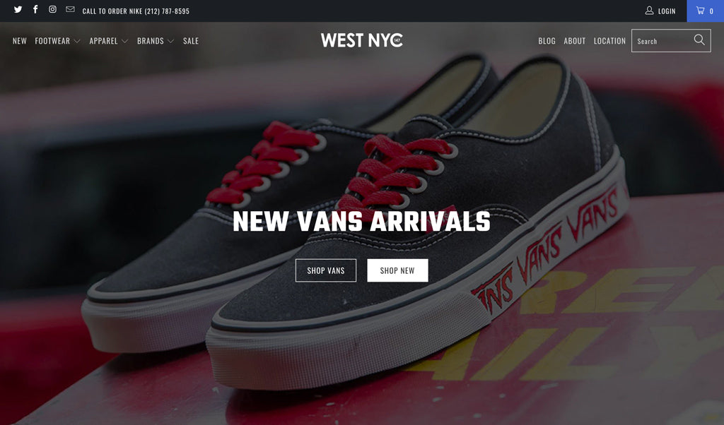 west nyc homepage design