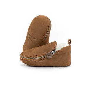 Brown Bear Bootie - Soft Soles with Fur Lining
