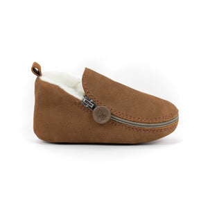 Brown Bear Bootie - Rubber Soles with Fur Lining