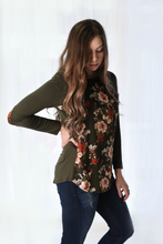 Tessa Elbow Patch Floral T-shirt Blouse - Olive