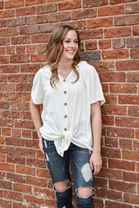 Avery Short Sleeve Button Down Shirt - Off White