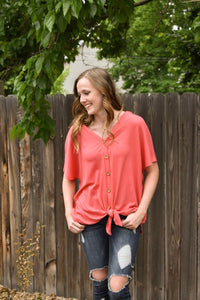 Avery Short Sleeve Button Down Shirt - Coral