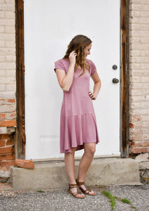 Alexa Peplum Dress - Antique Mauve