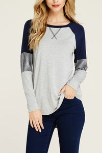 Layla Game Day Raglan - Heather Gray/Navy