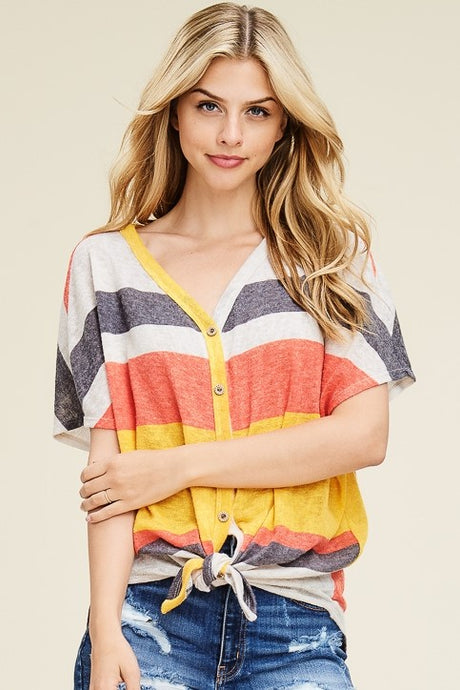 Sienna Striped Button Down Top
