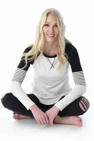 Layla Game Day Raglan - White/Black