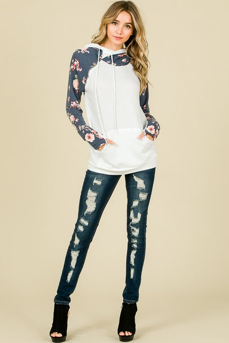 Grayson Floral Double Hood Sweatshirt - Ivory/Navy
