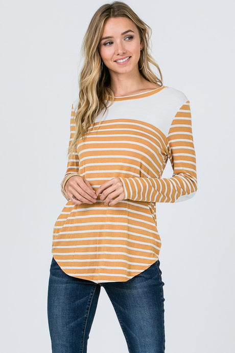Autumn Striped Elbow Patch Tee - Mustard