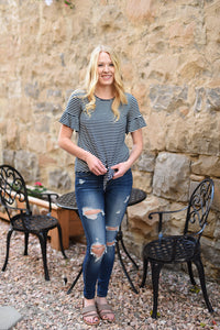 Zoe Striped Ruffle Sleeve Tee - Navy - Plus Sizes