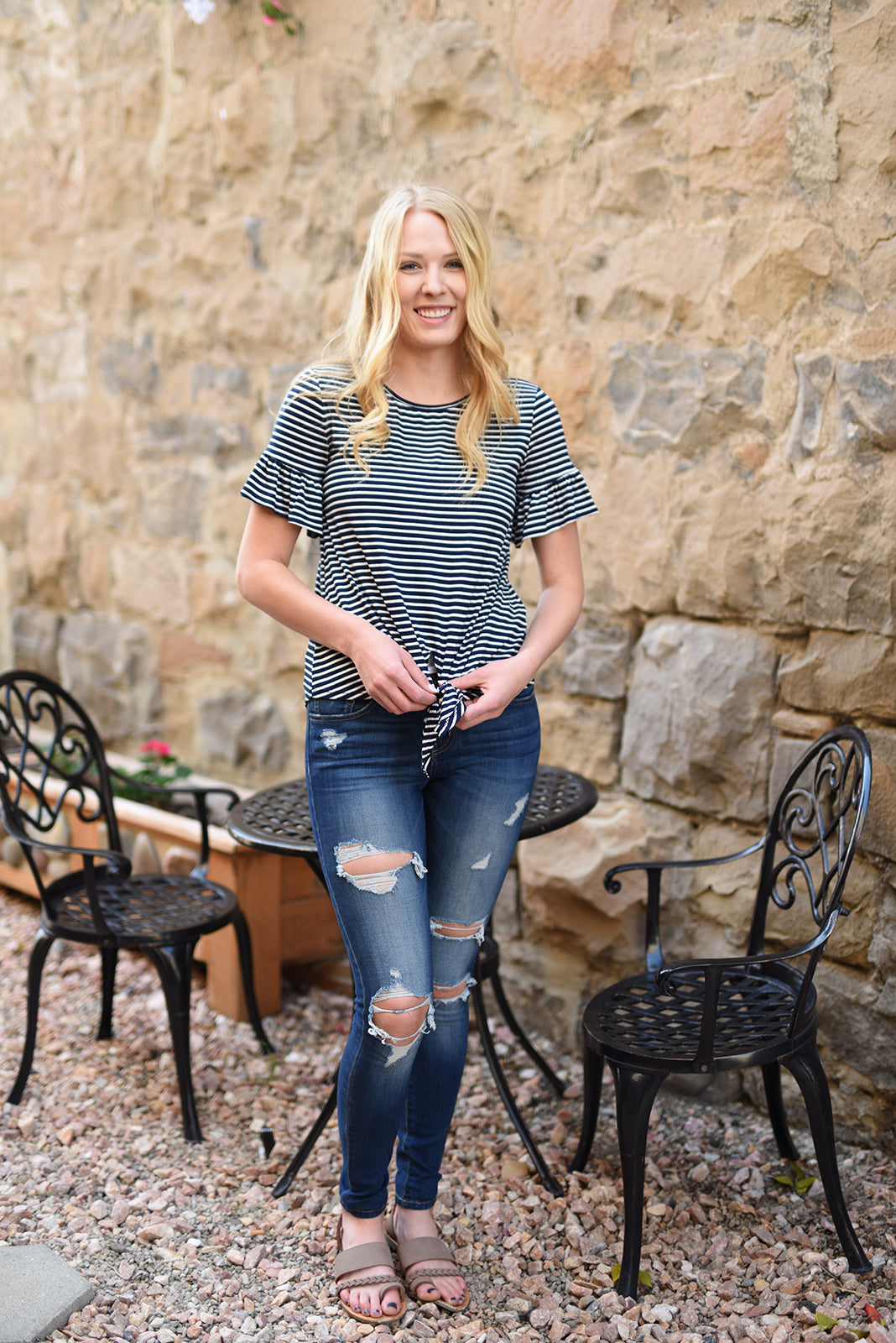 bed5eb69de8 Zoe Striped Ruffle Sleeve Tee - Navy - Plus Sizes – Mia s Cove LLC