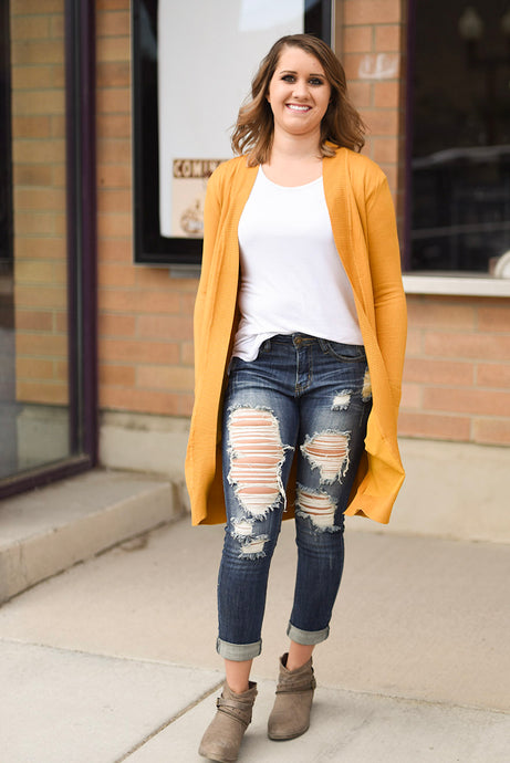 Long Sweater Cardigan - Mustard
