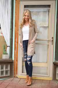 Long Sweater Cardigan - Camel