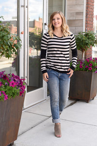 Everly Striped Color Block Long Sleeve Tee - Black/Beige